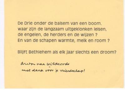 Anton Vlaskop ontving een kerstkaart  van Anton Van Wilderode