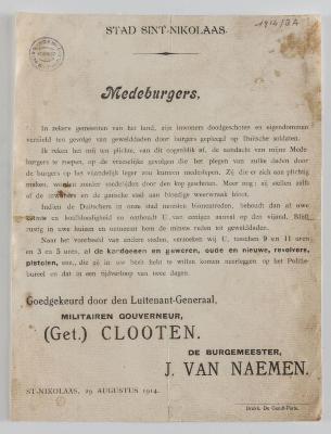 1914-Oproep van Burgemeester J. Van Naemen Sint-Niklaas