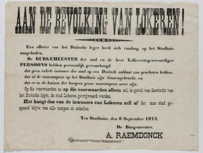 1914-Lokeren aankondiging van de burgemeester Raemdonck
