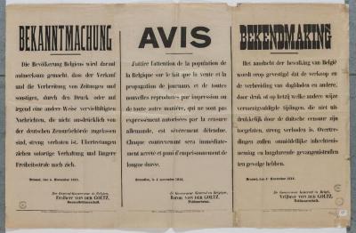 1914-Kennisgeving censuur op de dagbladen