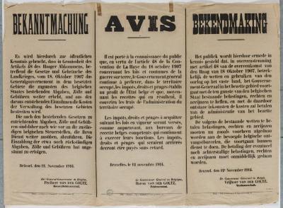 1914-Bekendmaking over de belastingen
