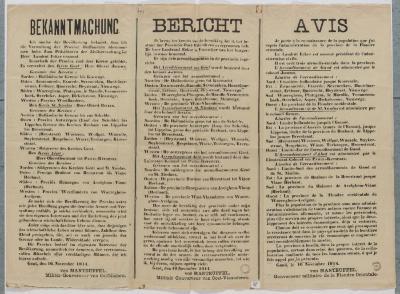 1914-Bekendmaking dat Von Manteuffel het bestuur overgenomen heeft.