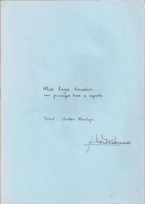 Jo Van Eetvelde componeerde muziek op 'Het gebaar' van Anton Vlaskop